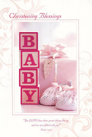 Christening Blessings Girl - Single Card