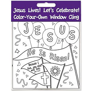 Jesus Lives Window Cling Craft Pack of 12