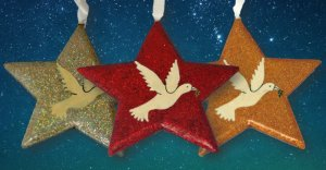 Glitter Dove Star Christmas Decorations - Pack of 3