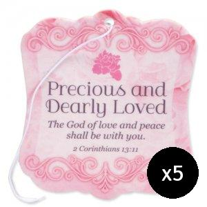 Precious and Dearly Loved Car Air Freshener - Pack of 5