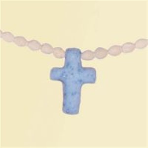 Necklace Cream Wood with blue cross Pack of 3
