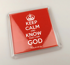 Keep Calm and Know God Red Coaster