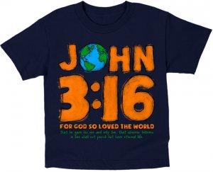 3:16 Kidz T Shirt: Blue, Children's Large