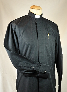 "Men's Black Clerical Shirt 17.5"""