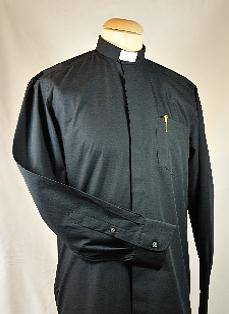 "Men's Black Clerical Shirt 18"""