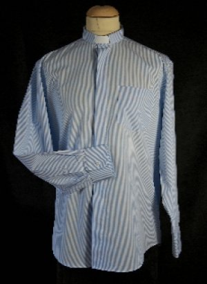 Men's Blue and White Striped Clerical Shirt 14.5""
