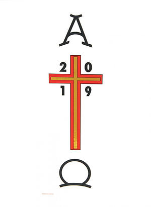 Paschal Transfer 2019 Alpha and Omega with Cross and Date