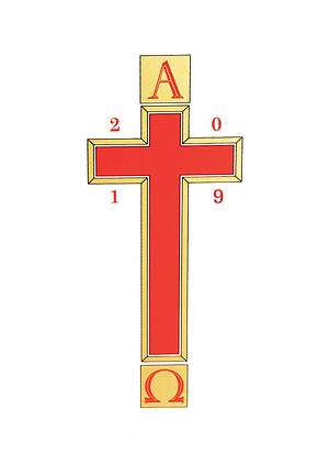 Paschal Transfer 2019 Alpha and Omega with Red Cross