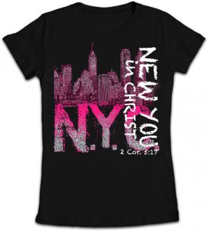 NYC Fitted T Shirt: Black, Female Large