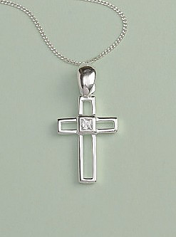 Cut Out Cross Pendant: Silver with Clear Diamonique