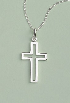 Open Cross Pendant: Silver, Medium