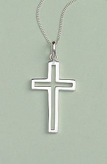 Open Cross Pendant: Silver, Large