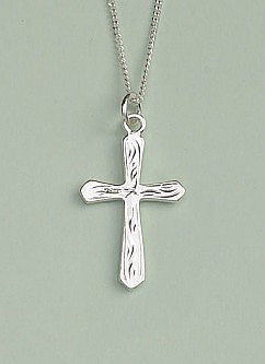 Flared & Engraved Cross Pendant: Silver