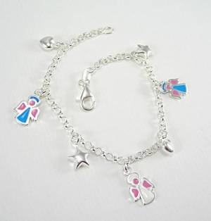 Angel, Star & Heart Charm Bracelet: Silver