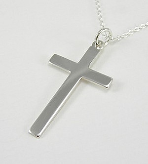 Solid Cross Pendant: Silver