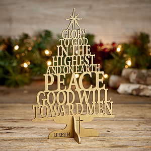 Glory to God Wooden Christmas Tree Decoration