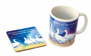 'Dabbling Ducks' Mug and Ceramic Coaster Set