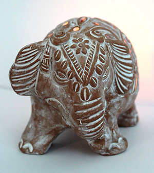 Clay Elephant Tea Light Holder