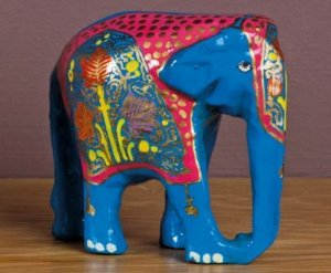 Blue Hand-painted Wooden Elephant