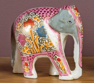 White Hand-painted Wooden Elephant
