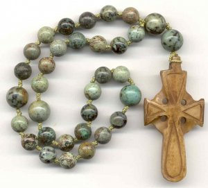 Anglican Rosary: African Turquoise with a Hand-Carved Bone Cross