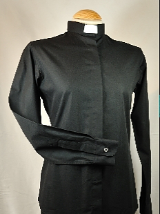 Women's Black Fitted Clerical Shirt Size 16