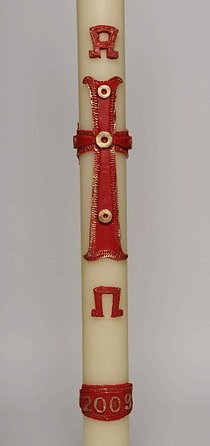 Alpha and Omega with Red Cross Wax Relief and Paschal Candle 36
