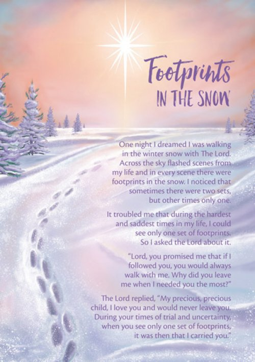 Mountain Christmas Cards.Footprints In The Snow Christmas Cards Pack Of 15