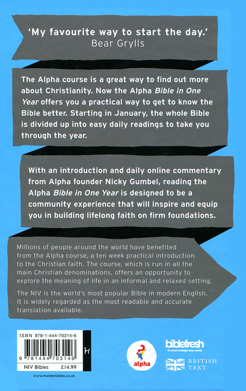 NIV Alpha Bible in One Year: Hardback | Free Delivery @ Eden co uk