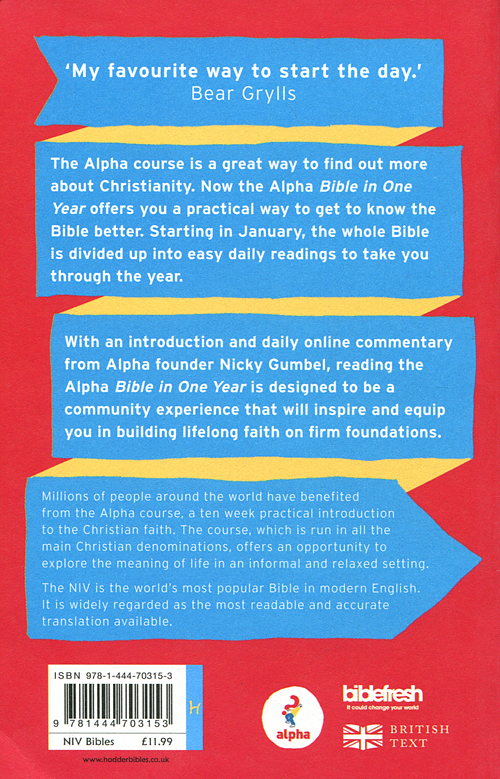 NIV Alpha Bible in One Year: Paperback | Free Delivery @ Eden co uk