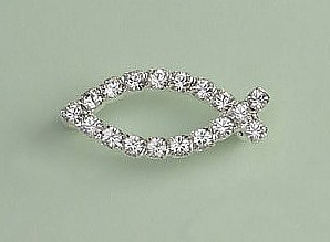 ddd02e57ec55f Crystal Fish Brooch: Silver with Clear Crystal