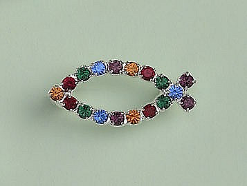 a4e1250112eac Crystal Fish Brooch: Silver with Vibrant Multi-Coloured Crystal