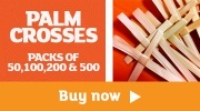Banner: Palm Crosses - Available in Packs of 50,100,200 & 500