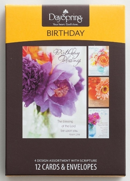 birthday  flower photos  12 boxed cards kjv