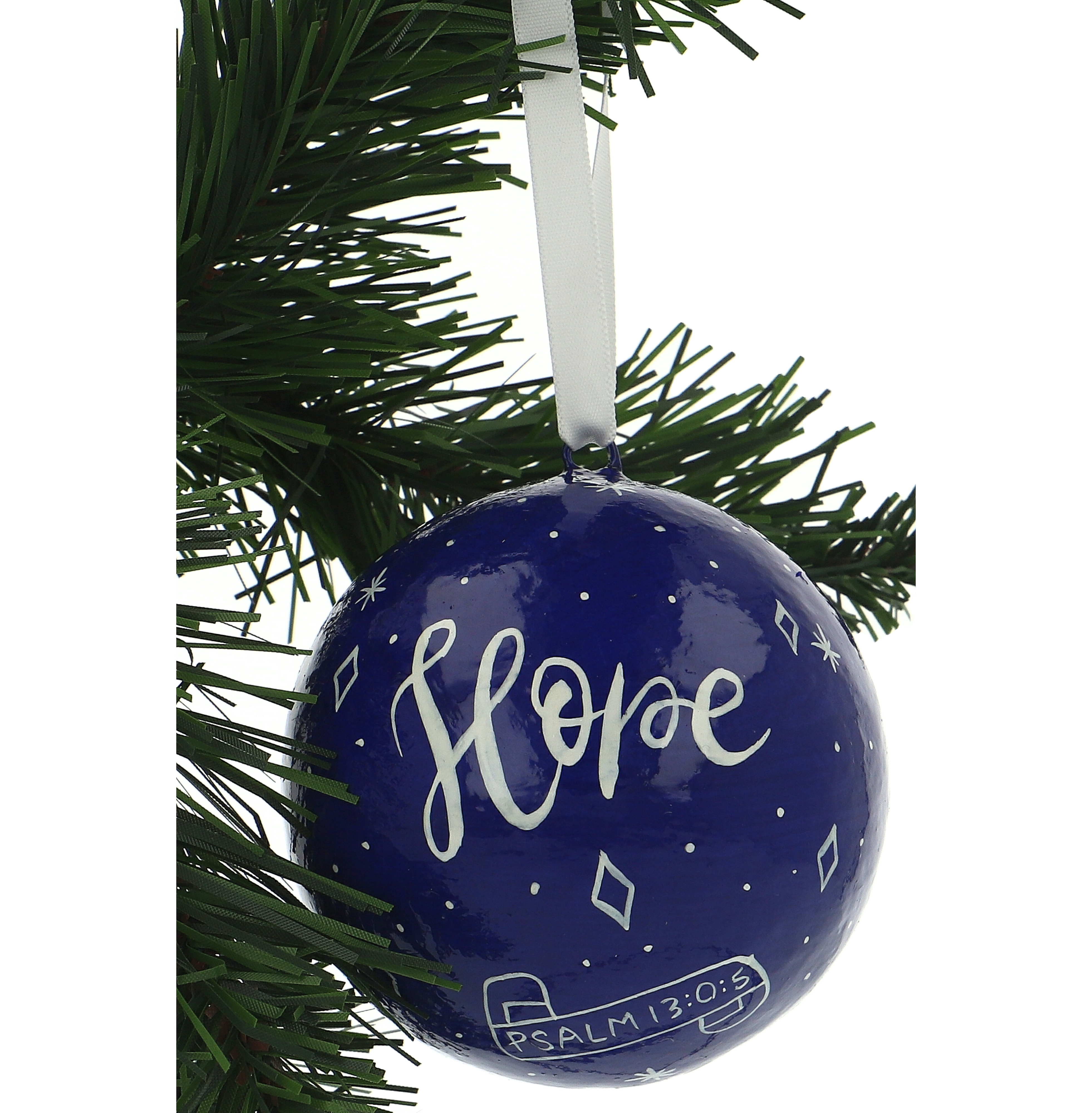 Hope Navy Blue Christmas Tree Bauble 5060157855675 Fast Delivery From Eden