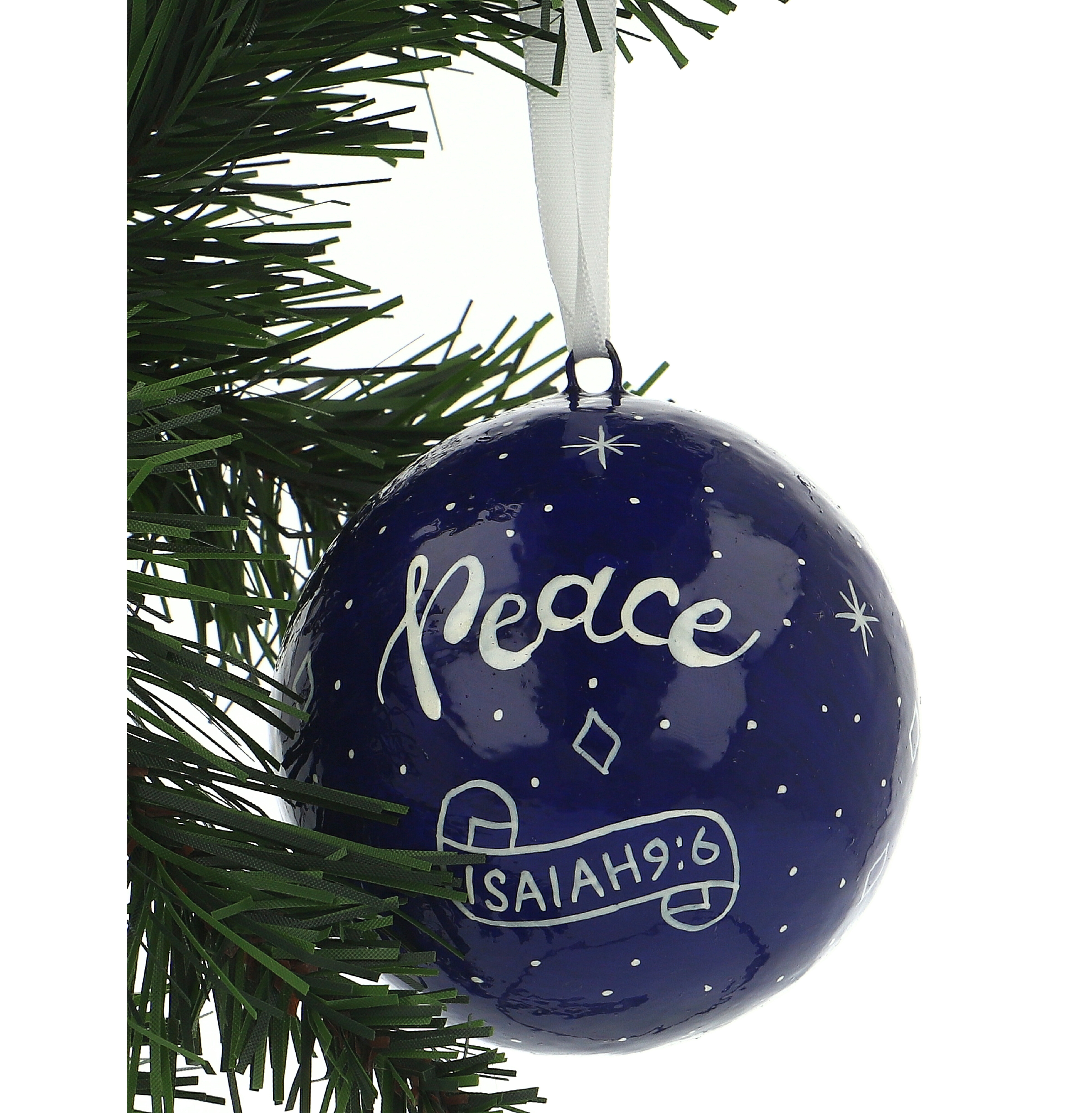 Peace Navy Blue Christmas Tree Bauble 5060157855699 Fast Delivery From Eden