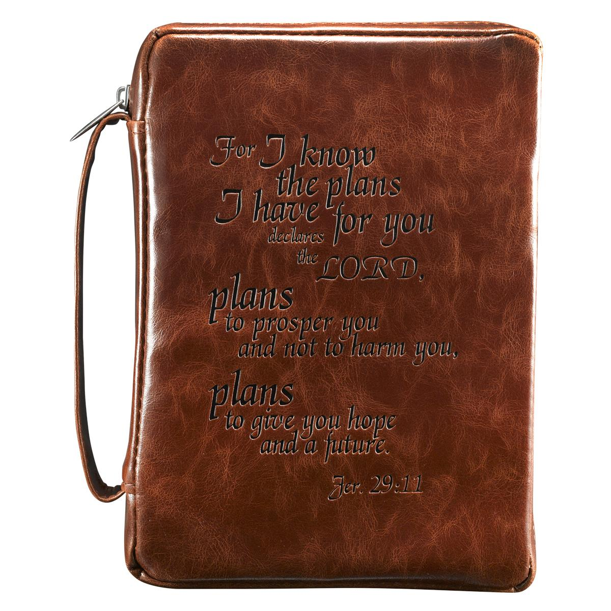 Vintage Leather Look Jeremiah Verse Bible Book Cover Large: Jer. 29:11 (Burgundy) Vintage Leather-Look Bible Cover