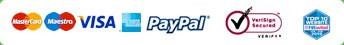 We Accept Mastercard, Maestro, American Express and Paypal